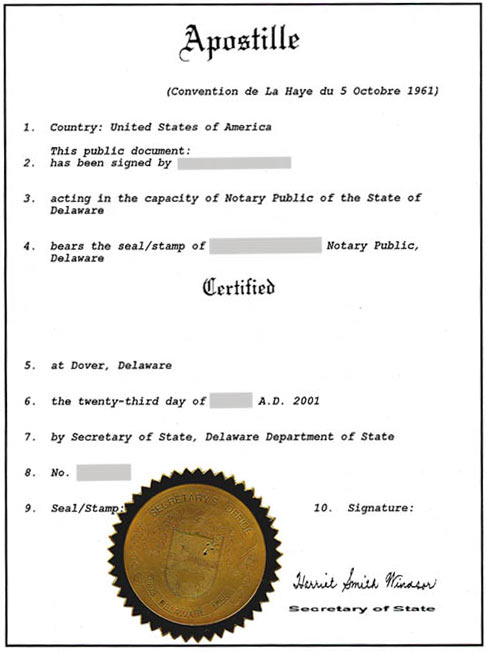 Apostillazione documenti